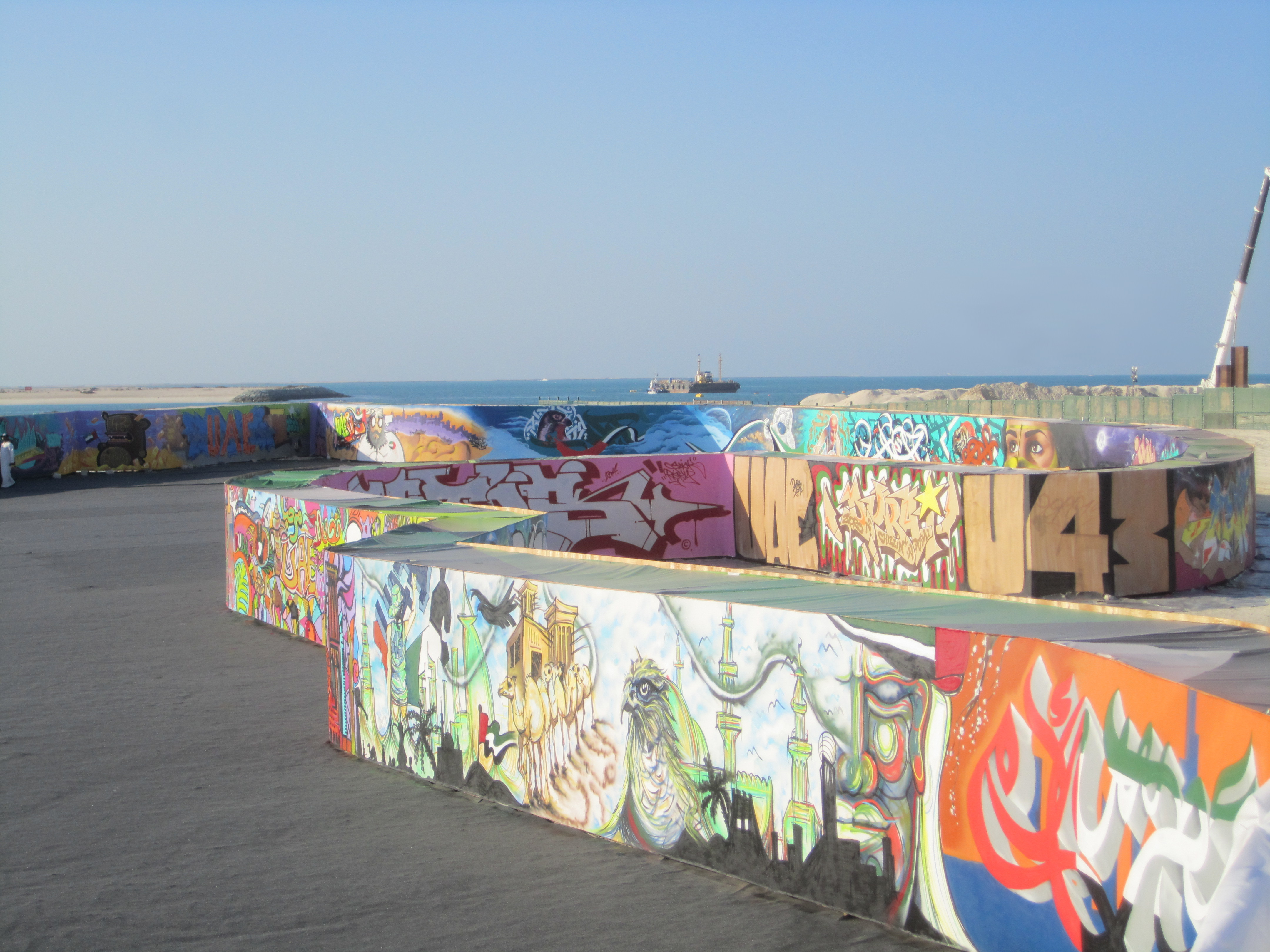 Graffiti wall uae -  Dubai S Monarch Installed An Open Air 2 2 Km Long Continuous Graffiti Wall Created By More Than 100 Artists Shaped In The Form Of A Map Of The Uae