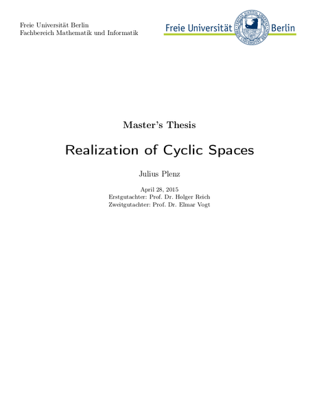 Realization of Cyclic Spaces